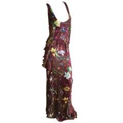 Gucci Flora Pattern Long Low Cut Ruffle Silk Evening Dress Size 46