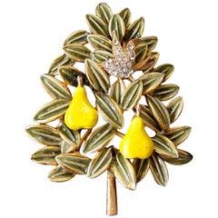 Cadoro Faux Diamond Partridge Bird in an Enamel Pear Tree Christmas Brooch Pin