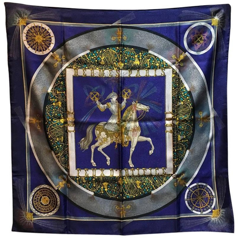 Hermes Vintage Feux D'artifice Silk Scarf in Navy For Sale