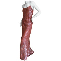 Jean Paul Gaultier Femme Rose and Silver Floral Jacquard Evening Dress