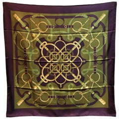 Hermes Vintage Eperon d'Or Silk Scarf c1970s in Purple and Green