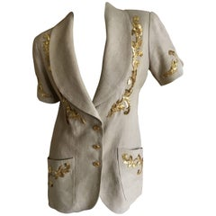 Chanel Vintage Linen Jacket with Lesage Gold Baroque Details