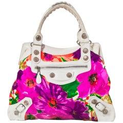 Balenciaga Floral Satin and Leather Giant 21 Brief Bag