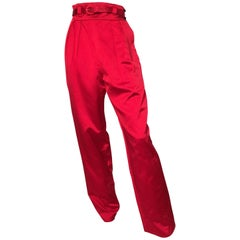 Bill Blass Red Satin Pleated Evening Pants with Pockets Size 4.