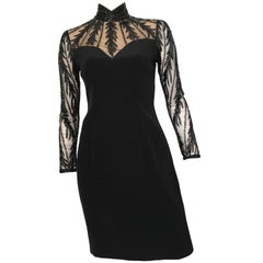 Bob Mackie for Lillie Rubin Black Beaded Evening Dress Size 4.