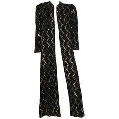 David Brown for Neiman Marcus Black Velvet Sequin Evening Coat Size 10/12.