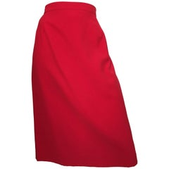 Valentino Red Wool Skirt
