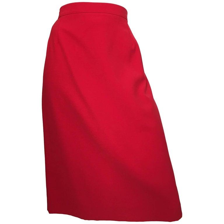 Valentino Red Wool Skirt Size 12.