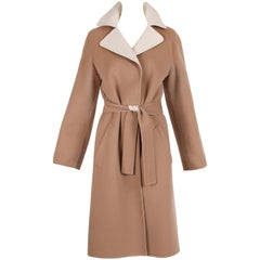 1970's Halston Camel Melton Wool Belted Coat w/Contrast Collar
