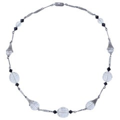 Art Deco Silver Tone Necklace with Faceted Clear and Black Beads