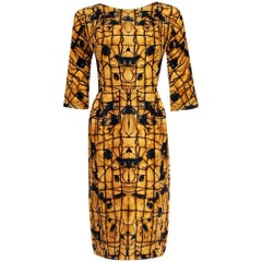 1955 Irene Lentz Couture Marigold and Black Graphic Print Silk Cocktail Dress