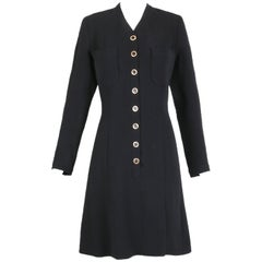 1989 Chanel Haute Couture Black Wool Crepe Dress w/Green Silk Lining No.68184