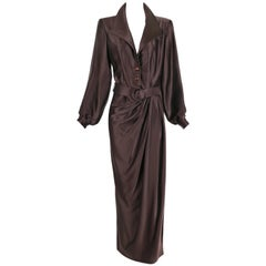 1989 Yves Saint Laurent YSL Haute Couture Brown Silk Gown w/Matching Belt