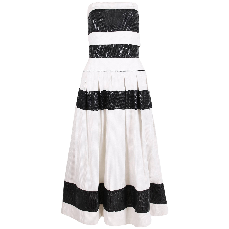 Chanel for Bergdorf Goodman Black / White Strapless Full Skirt Cocktail Dress