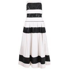 Chanel for Bergdorf Goodman Black / White Strapless Full Skirt Cocktail Dress