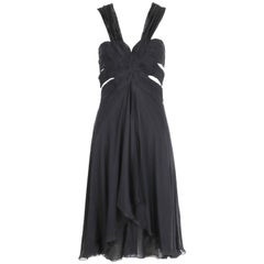 Valentino Black Silk Chiffon Multi-Layered Cocktail Dress Bodice Cut Outs, 2007