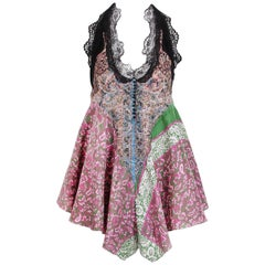 Balenciaga by Nicolas Ghesquiere Silk Paisley Print and Lace Halter Top, 2005