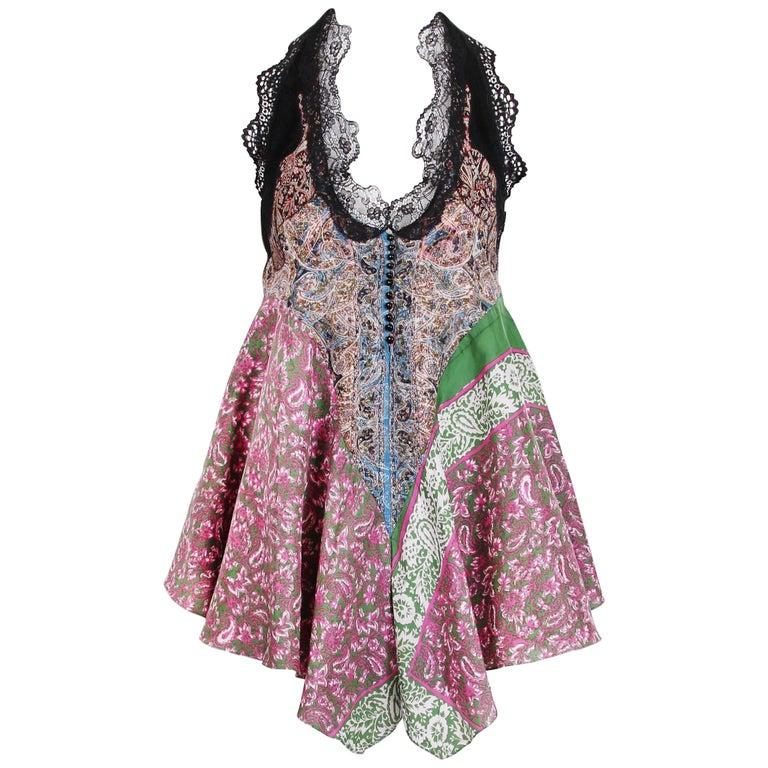 Balenciaga by Nicolas Ghesquiere Silk Paisley Print and Lace Halter Top, 2005