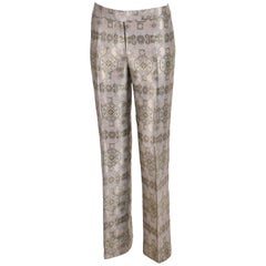 2003 Alexander McQueen Metallic Brocade Pants Trousers