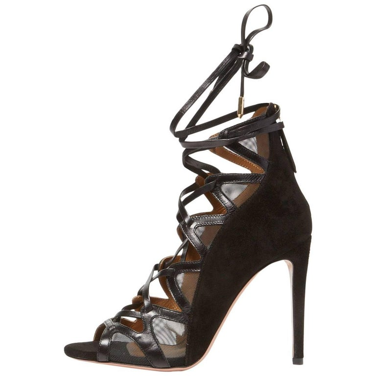 Aquazzura New Black Leather Suede Mesh Lace Up Sandals Heels in Box