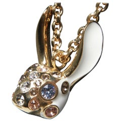 Christian Dior necklace with deer head embellished in crystals