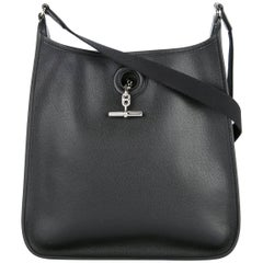 Hermes Black Leather Silver Mens Womens Carryall Crossbody Shoulder Bag in Box