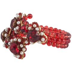 Ruby red glass bead and pearl bracelet in the style of Miriam Haskell