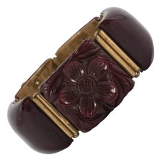 Carved bakelite bracelet, English 1930s