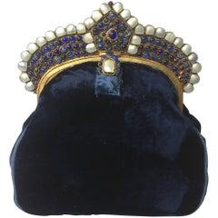 Silk velvet Moghul style clutch bag, 1920s,