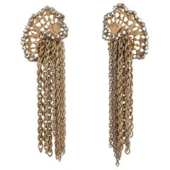 Gilt/rose montes and chain drop earrings, Miriam Haskell, 1950s