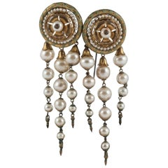 A pair of handblown glass pearl and enamelled gilt hat pins, 19th Century