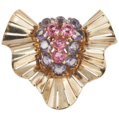 """Large gilt and coloured paste """"cocktail"""" brooch, Marcel Boucher , USA, 1940s"""