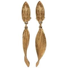 "Christian Dior Textured gilt metal ""leaf"" drop clip on earrings, 1960s"