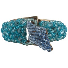 """Coppola e Toppo Pave embroidered bead """"buckle"""" cuff/bracelet, early 1950s"""