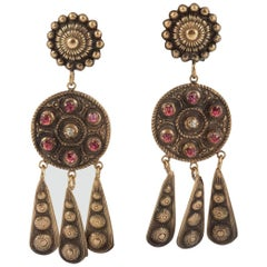 Antique gilded and pink paste drop earrings, Joseff of Hollywood, 1950s