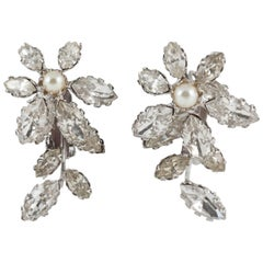 """Schreiner NY """"Flower"""" clip on earrings in clear paste and pearl,  1960s"""