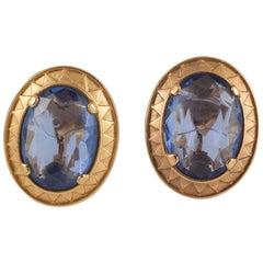 Yves Saint Laurent Large single blue glass stone earrings, 1980s