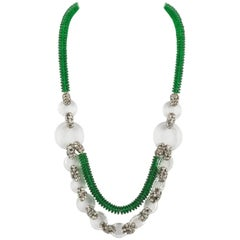 Emerald green glass and paste necklace, French 1920s