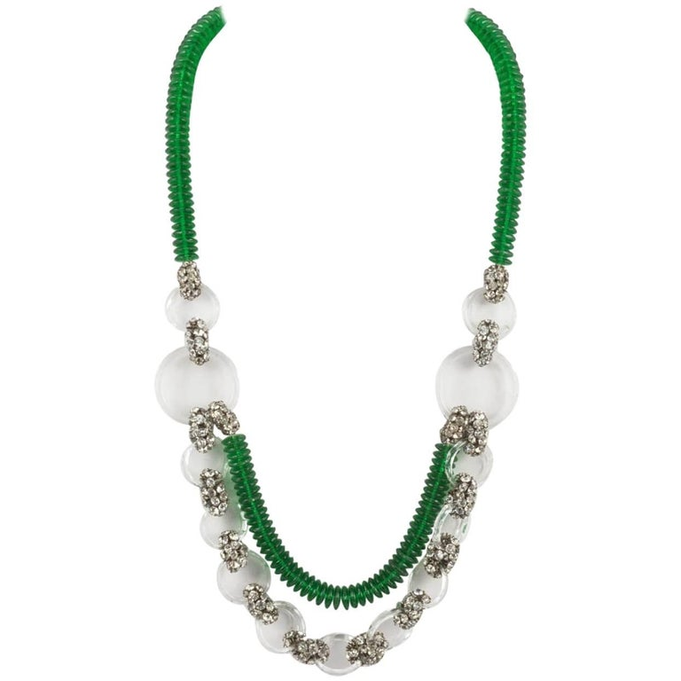 Emerald green glass and paste necklace, French 1920s For Sale