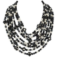 Coppola e Toppo Italy Black bead and pearl multi row necklace, 1960s