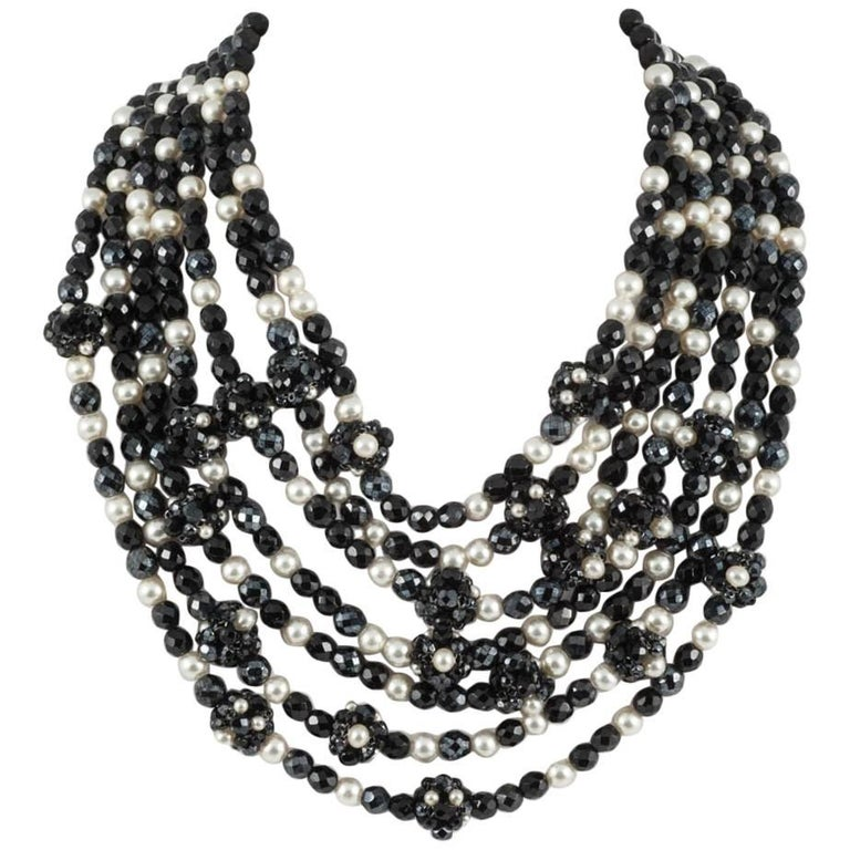 Coppola e Toppo Italy Black bead and pearl multi row necklace, 1960s For Sale