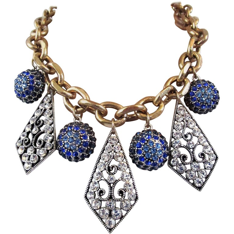 Oscar De La Renta Faux Blue Sapphire and Faux Diamond Runway Necklace For Sale