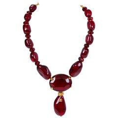 Chanel Faceted Burgundy Lucite Necklace