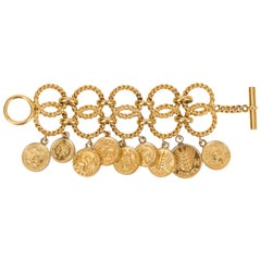 Chanel 1980's Rare Gold Tone Double Coin Charm Bracelet