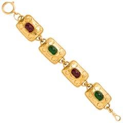 Chanel 1970's Vintage Gold Plated Square Gripoix Bracelet
