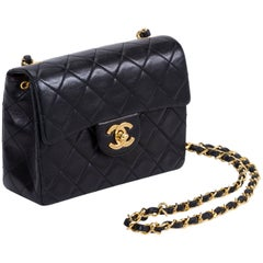 Chanel Black Gold Mini Classic Flap Bag