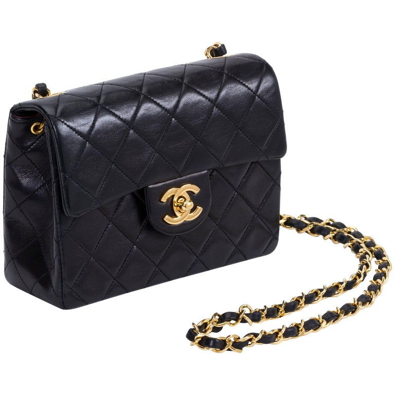 9ca9e7ab0912aa Chanel Black Gold Mini Classic Flap Bag at 1stdibs