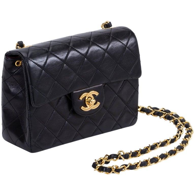 Chanel Black Gold Mini Classic Flap Bag