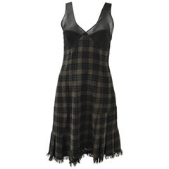 Jean Paul Gaultier Green Check Dress with Sheer Panel Details 1990's