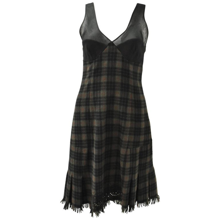 Jean Paul Gaultier Green Check Dress with Sheer Panel Details 1990's 1
